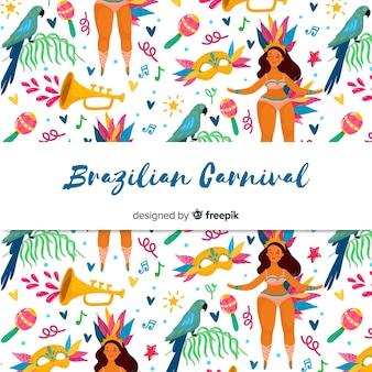 Hand drawn brazilian carnival background