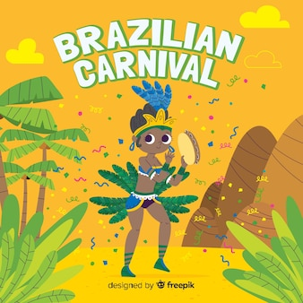 Hand drawn brazilian carnival background