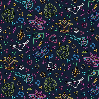 Hand drawn brazilian carnival colorful pattern