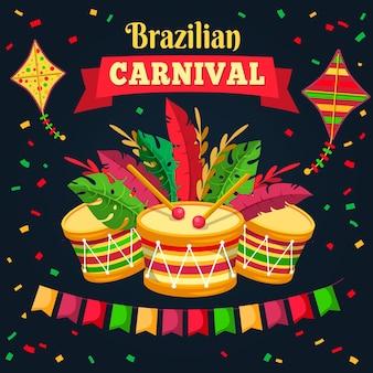 Нарисованная рукой концепция бразильского карнавала