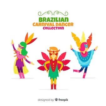 Hand drawn brazilian carnival dancer collection