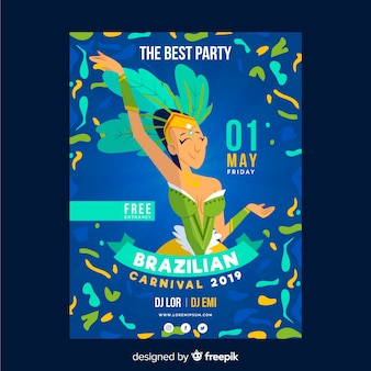 Hand drawn  brazilian carnival dancer party poster