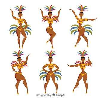 Hand drawn brazilian carnival dancer set