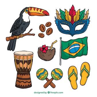 Accumulazione brasiliana disegnata a mano dell'elemento di carnevale