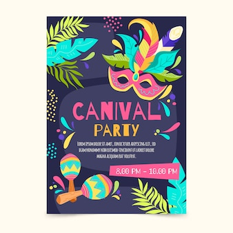 Hand drawn brazilian carnival flyer template