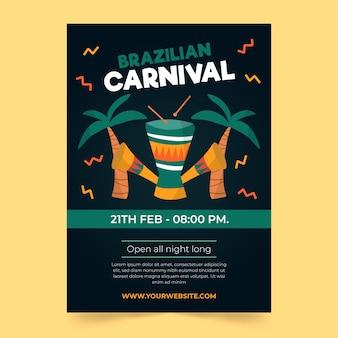 Hand drawn brazilian carnival flyer template
