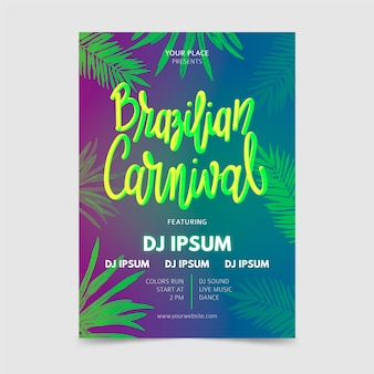 Hand drawn brazilian carnival flyer with tropical leaves