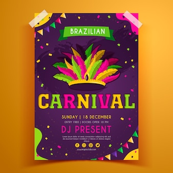 Hand drawn brazilian carnival flyer