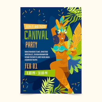 Hand-drawn brazilian carnival flyer