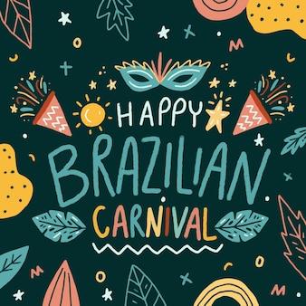 Carnevale brasiliano disegnato a mano illustrato