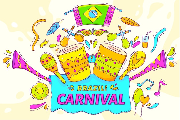 Hand drawn brazilian carnival illustration