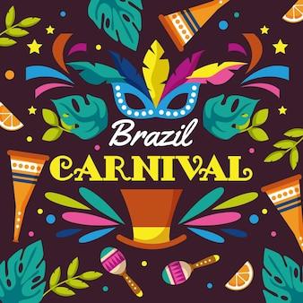 Нарисованная рукой иллюстрация бразильского карнавала