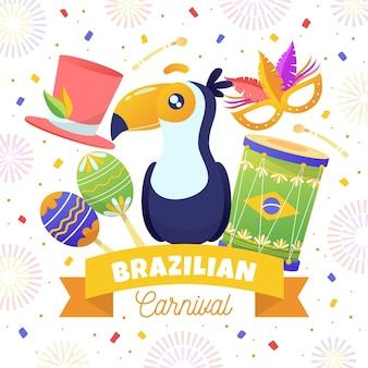 손으로 그린 브라질 카니발 그림