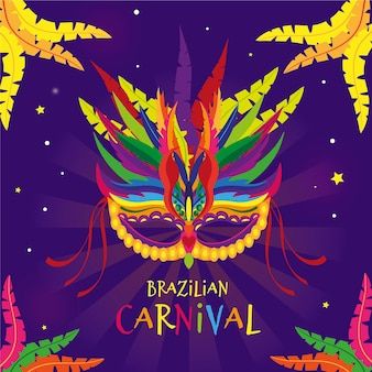 Hand drawn brazilian carnival mask