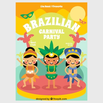 Hand drawn brazilian carnival party flyer/poster