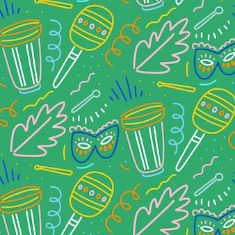 Hand-drawn brazilian carnival pattern concept