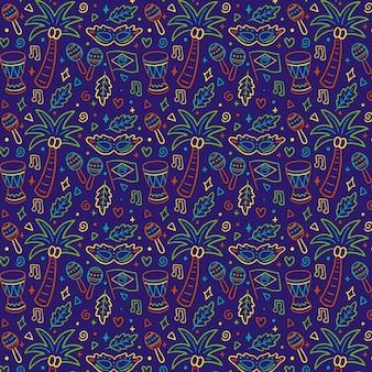 Hand drawn brazilian carnival pattern concept