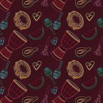 Hand-drawn brazilian carnival pattern theme