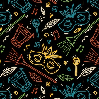 Hand drawn brazilian carnival pattern with musical instruments and masks