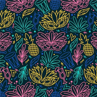 Hand drawn brazilian carnival pattern
