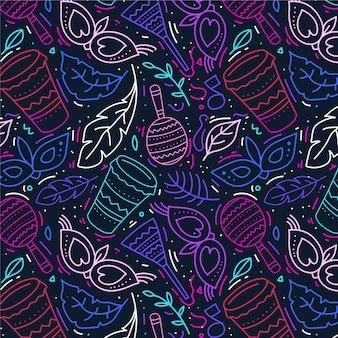 손으로 그린 된 브라질 카니발 패턴