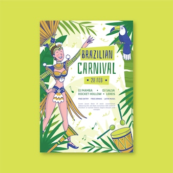 Hand-drawn brazilian carnival poster template theme
