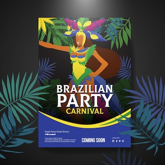 Hand-drawn brazilian carnival poster template