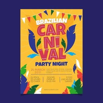 Hand drawn brazilian carnival poster template