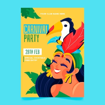 Hand drawn brazilian carnival poster with woman and bird