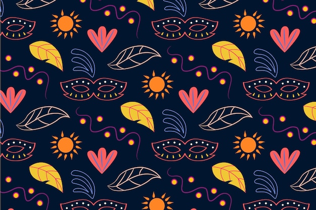 Hand drawn brazilian carnival seamless pattern with leaves and sun