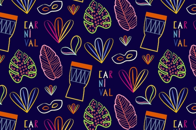 Hand drawn brazilian carnival seamless pattern with percussion  music instruments