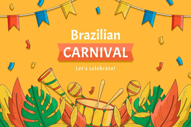 紙吹雪と手描きのブラジルのカーニバル