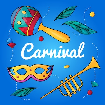Hand drawn brazilian carnival with maracas and trumpet