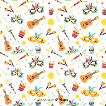 Hand drawn brazilian elements carnival pattern
