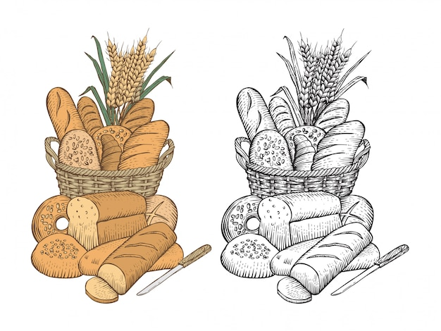 Hand drawn of bread assortment in a basket on white background