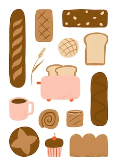 Hand drawn bread and coffee for bakery food elements collection