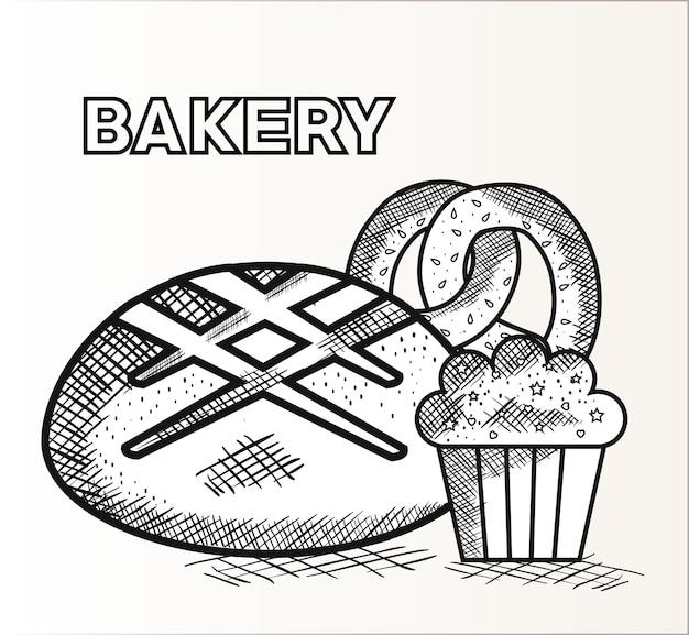 Рисованный хлеб, кекс и крендель с выпечкой