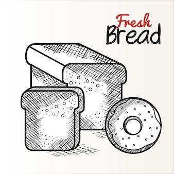 Ручной обращается хлеб буханка и пончик со свежим хлеб знак на белом фоне. векторные иллюстрации.