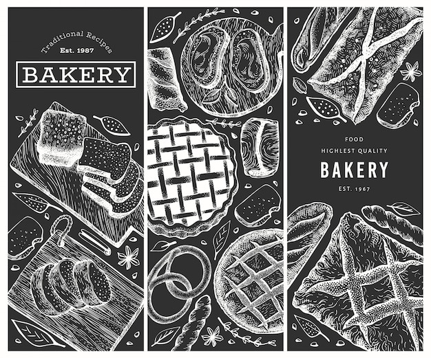 Hand drawn bread and pastries banners set