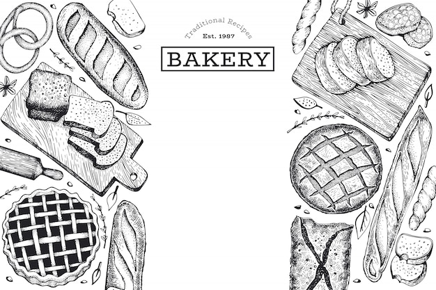 Hand drawn bread and pastry banner template.