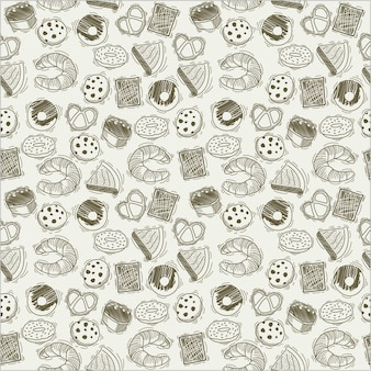 Hand drawn bread products pattern