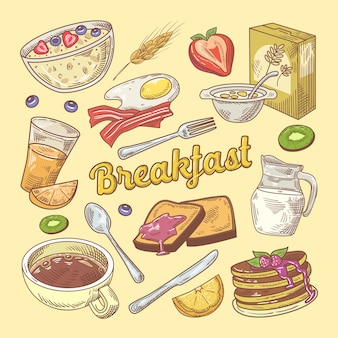 Hand drawn breakfast doodle with toasts and pancakes