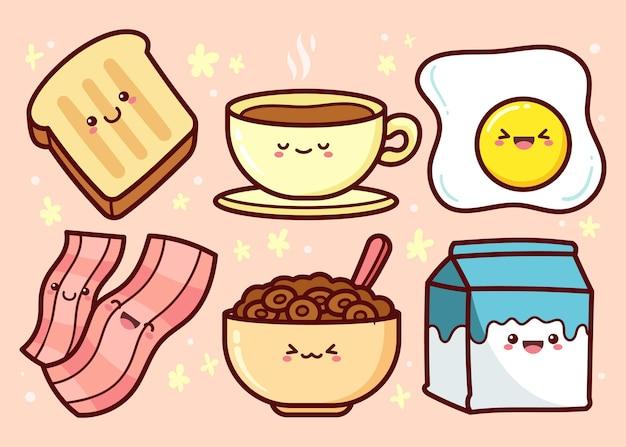 Raccolta di cibo per la colazione disegnata a mano