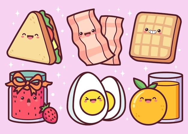手描きの朝食用食品コレクション