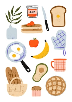 Hand drawn breakfast food elements with fried egg, bread, fruit, pie, cupcake and pancakes cartoon illustration
