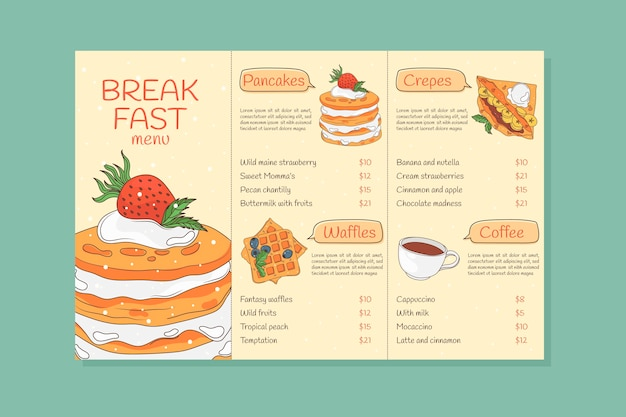 Hand drawn breakfast menu