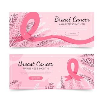 Set di banner orizzontali disegnati a mano per il mese di consapevolezza del cancro al seno