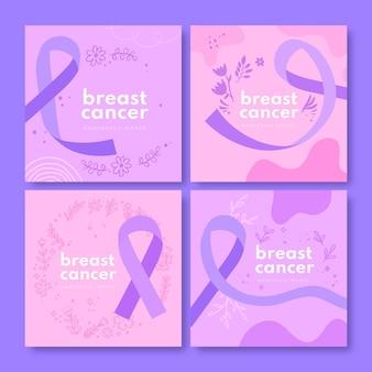 Collezione di post di instagram del mese di consapevolezza del cancro al seno disegnata a mano