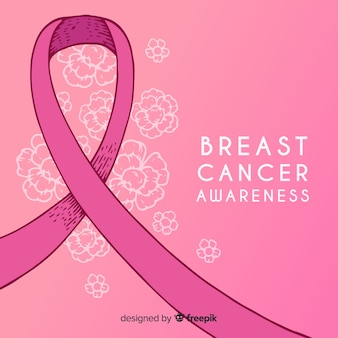 Hand drawn breast cancer awareness with ribbon
