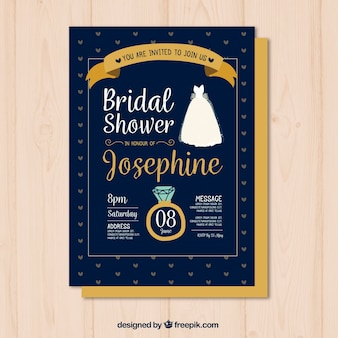 Hand-drawn bridal shower invitation with ring and dress